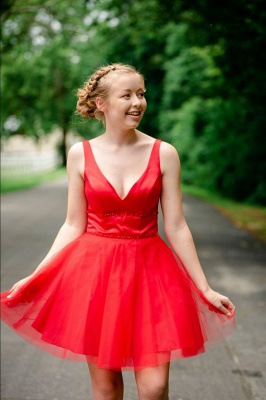 Simple V Neck Straps Red Homecoming Dress | A Line Tulle Sleeveless Beading Short Cocktail Dress_1