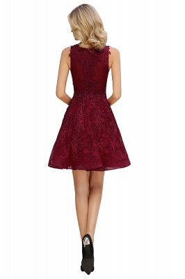 Princess V-neck Knee Length Lace Appliqued Homecoming Dresses | Burgundy Dress for Homecoming_11