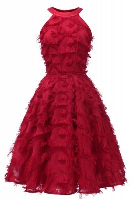 Elegant Halter Feather Princess Vintage Dresses | Retro A-line Burgundy Homecoming Dress_3