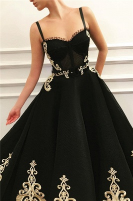 Straps Sweetheart Black Tulle Prom Dress   Charming Sleeveless Champagne Appliques Long Prom Dress_2