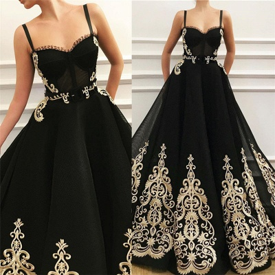 Straps Sweetheart Black Tulle Prom Dress   Charming Sleeveless Champagne Appliques Long Prom Dress_3
