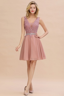 Cute Deep V-neck Short Sexy Sleeveless V-back Dusty Pink Knee length Womens Dress for Cocktail Party_1