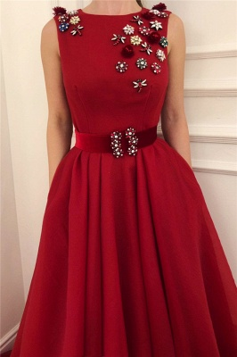 Cute Satin A Line Fowers Red Prom Dress with Dragonfly | Chic Scoop Sleeveless Long Prom Dress with Sash_2