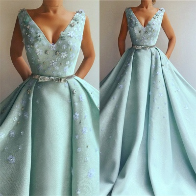 Exquisite Sequins V Neck Sleeveless Prom Dress | Chic Flowers Pearls Long Prom Dress with Beading Sash_3