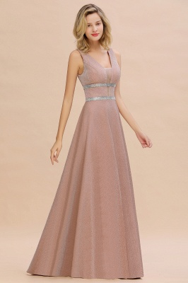 Sparkly Deep V-neck Long Evening Dresses with Shining Belt | Elegant Sleeveless V-back Pink Formal Dress_8