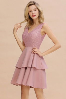 Sexy V-neck V-back Knee Length Homecoming Dresses with Ruffle Skirt | Burgundy, Navy, Pink Dress for Homecoming_16