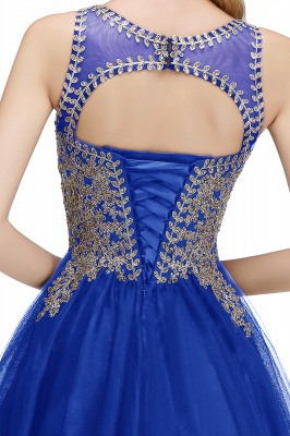 Cute Crew Neck Puffy Homecoming Dresses with Lace Appliques | Beaded Sleeveless Open back Black Teens Dress for Cocktail_18