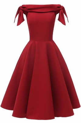 Womens Bateau Burgundy Navy Ruby Vintage Dresses | Retro Princess Short Party Dress_7
