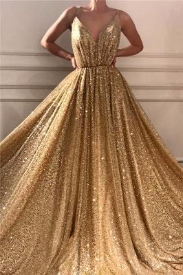 Lentejuelas glamorosas correas de espagueti vestido de fiesta largo | Vestido de fiesta dorado sin mangas con cuello en V brillante_1