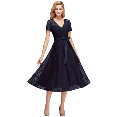 V-neck Short Sleeves Lace Dresses with Bow Sash_4