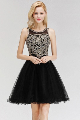 Cute Crew Neck Puffy Homecoming Dresses with Lace Appliques | Beaded Sleeveless Open back Black Teens Dress for Cocktail_5