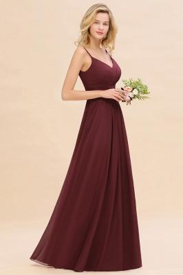 Elegantes Brautjungfer Kleid Weinrot | Schlichte Brautjungfernkleider Mit Träger Bodenlang_4
