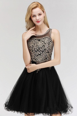 Cute Crew Neck Puffy Homecoming Dresses with Lace Appliques | Beaded Sleeveless Open back Black Teens Dress for Cocktail_7