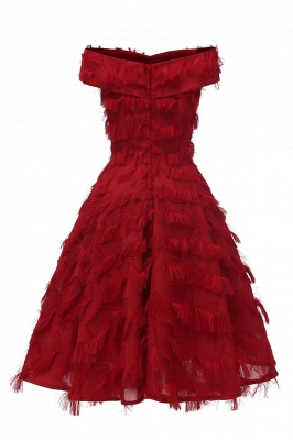 Sexy off-the-shoulder Artifical Feather Princess Vintage Homecoming Dresses | Womens Retro A-line Pink Cocktail Dress_12