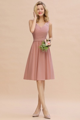 Lace V-neck Long Short Homecoming Dresses with Belt | Sexy Sleeveless V-back Pink Knee length Cocktail Dress_11