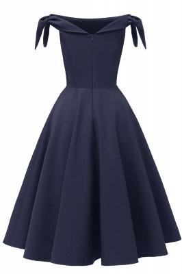 Womens Bateau Burgundy Navy Ruby Vintage Dresses | Retro Princess Short Party Dress_4