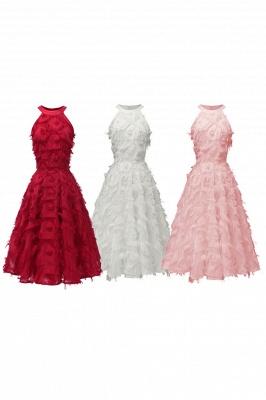Elegant Halter Feather Princess Vintage Dresses | Retro A-line Burgundy Homecoming Dress_16