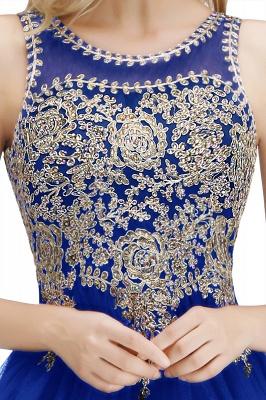 Niedlichen Rundhalsausschnitt Puffy Homecoming Kleider mit Spitzenapplikationen | Perlen ärmellose Open Back Black Teens Kleid für Cocktail_21