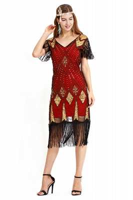 Casual Short Sleeves Short Black Burgundy Cocktail Dresses | Shining Sequined Dress with Tassels_9
