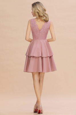 Sexy V-neck V-back Knee Length Homecoming Dresses with Ruffle Skirt | Burgundy, Navy, Pink Dress for Homecoming_19