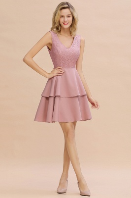 Sexy V-neck V-back Knee Length Homecoming Dresses with Ruffle Skirt | Burgundy, Navy, Pink Dress for Homecoming_17