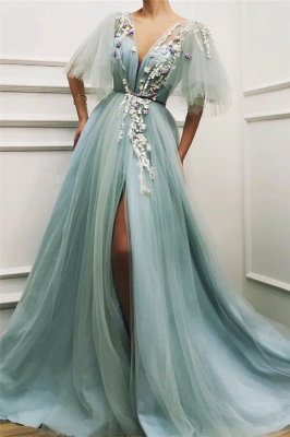 Sexy Deep V Neck Front Slit Prom Dress | Short Sleeveless Tulle Appliques Long Prom Dress_1