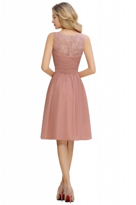 Lace V-neck Long Short Homecoming Dresses with Belt | Sexy Sleeveless V-back Pink Knee length Cocktail Dress_20