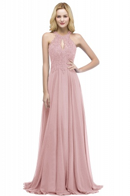 PANSY | A-line Keyhole Neckline Halter Long Beading Prom Dresses_1