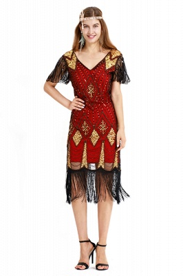 Casual Short Sleeves Short Black Burgundy Cocktail Dresses | Shining Sequined Dress with Tassels_10