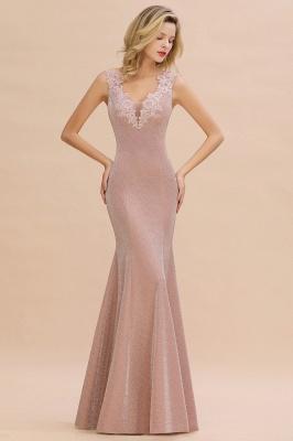 Sparkly Deep V-neck Long Evening Dresses | Elegant Flowers Neck Sleeveless Pink Floor-length Formal Dress_1