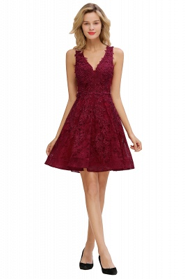 Princess V-neck Knee Length Lace Appliqued Homecoming Dresses | Burgundy Dress for Homecoming_10