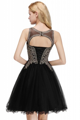 Cute Crew Neck Puffy Homecoming Dresses with Lace Appliques | Beaded Sleeveless Open back Black Teens Dress for Cocktail_14