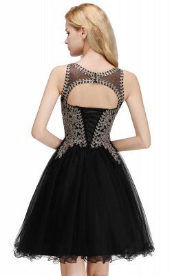 Niedlichen Rundhalsausschnitt Puffy Homecoming Kleider mit Spitzenapplikationen | Perlen ärmellose Open Back Black Teens Kleid für Cocktail_14