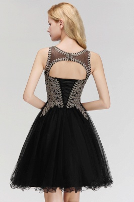 Cute Crew Neck Puffy Homecoming Dresses with Lace Appliques | Beaded Sleeveless Open back Black Teens Dress for Cocktail_6