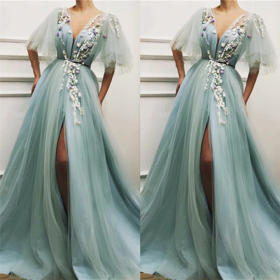 Sexy Deep V Neck Front Slit Prom Dress | Short Sleeveless Tulle Appliques Long Prom Dress_2