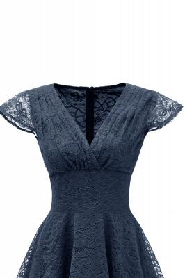 Retro Lace Cap Sleeves Dress Elegant Cocktail Party V-neck A Line Vintage Dress_17