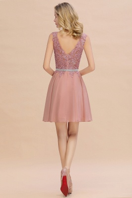 Cute Deep V-neck Short Sexy Sleeveless V-back Dusty Pink Knee length Womens Dress for Cocktail Party_6