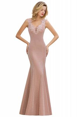 Sparkly Deep V-neck Long Evening Dresses | Elegant Flowers Neck Sleeveless Pink Floor-length Formal Dress_10