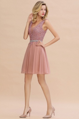 Cute Deep V-neck Short Sexy Sleeveless V-back Dusty Pink Knee length Womens Dress for Cocktail Party_10