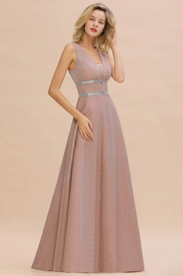 Sparkly Deep V-neck Long Evening Dresses with Shining Belt | Elegant Sleeveless V-back Pink Formal Dress_9