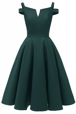 Sexy Cap Sleeves Princess Vintage Dresses with Straps | Womens Retro V-neck Emerald Cocktail Dress_4