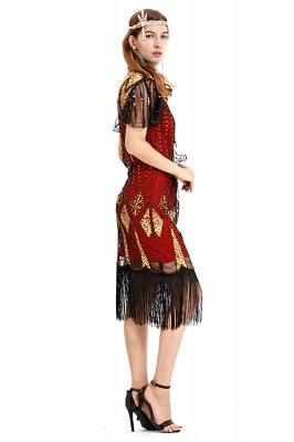 Casual Short Sleeves Short Black Burgundy Cocktail Dresses | Shining Sequined Dress with Tassels_8