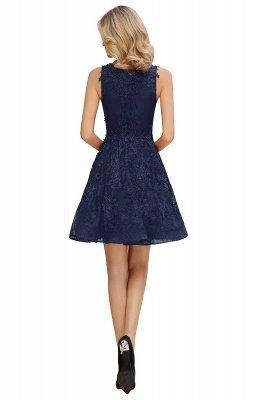 Princess V-neck Knee Length Lace Appliqued Homecoming Dresses | Burgundy Dress for Homecoming_13
