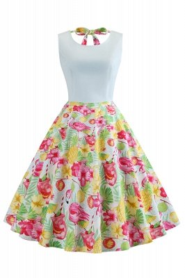 Attractive Scoop Ribbon Sleeveless A-line Fashion Dresses | Floral Women's Dresses