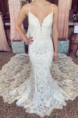 Luxury Lace Beading Chapel Train Champagne Wedding Dress | Cute Spaghetti Straps V Neck Sleeveless Long Bridal Gown