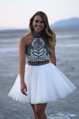 Chic Two Pieces Halter Homecoming Dress | Stylish Appliques Beading Short Cocktail Dress_1
