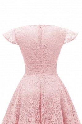 Elegante Spitze Vintage Rockabilly Kleid | Schöne V-Ausschnitt Damen Kleider A-Linie_11
