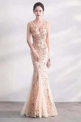 Elegant Deep V-neck Mermaid Evening Dress with Ruby Beads | Long Floor length Formal Dress