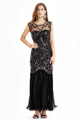 Beautiful Cap sleeves Long Black Cocktail Dresses | Shining Sequined Dress_3