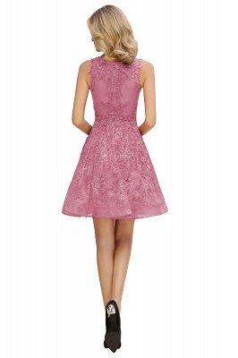 Princess V-neck Knee Length Lace Appliqued Homecoming Dresses | Burgundy Dress for Homecoming_14